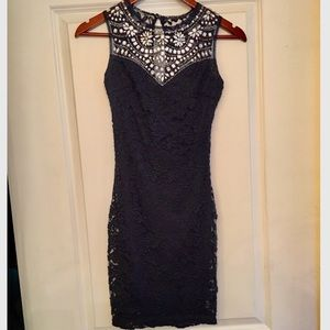 B. Darlin navy lace dress with rhinestone neckline